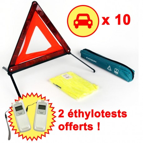 10 Kits sécurité voiture : triangle signalisation gilet réfléchissant