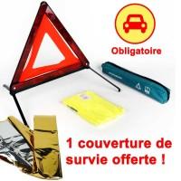 Kit de sécurité voiture : triangle signalisation & gilet réfléchissant