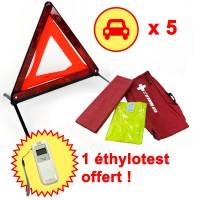 5 Kit sécurité voiture : triangle signalisation & gilet réfléchissant