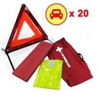 20 Kits sécurité voiture : triangle signalisation gilet réfléchissant
